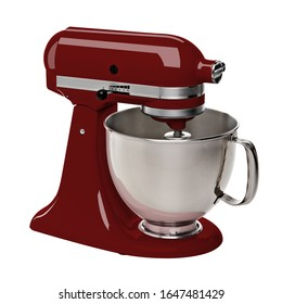 Burgundy Stand Mixer isolated on white background including Clipping Path