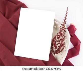 Burgundy wedding invitation mockup with astilbe flower drcoration