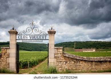 Burgundy,France-Chateau de Clos de Vougeot. July 8, 2017. In the very heart of Burgundy's vineyards, it was originally a wine farm, built in the 12th century by monks from the nearby Abbey of Cîteaux.