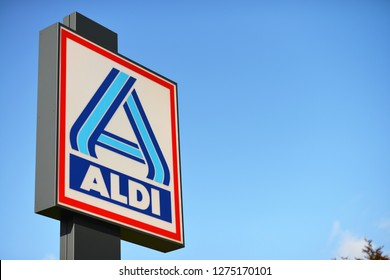 Burgwedel Lower Saxony / Germany - October 1, 2017: Sign at the entrance to an ALDI Nord store in Burgwedel, Germany  -  ALDI is the common brand of two leading global supermarket chains