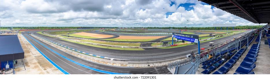 Buri Ram,Thailand - September 23, 2017 : The panoramic view of Buriram International Circuit or Chang international Circuit in Buriram, Thailand on September 23, 2017.