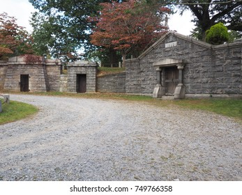 Burial chambers in the Old Dutch Church Cemetery in Sleepy Hollow New York