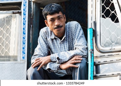Burimari, Bangladesh, March 3 2017: Truck driver waiting in Burimari, a border town between Bangladesh and India on the clearance
