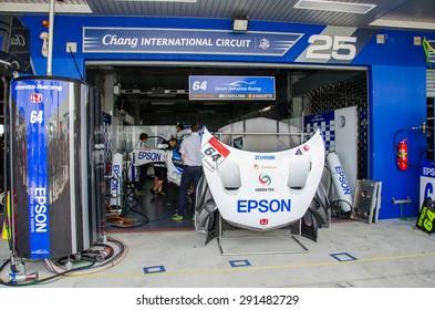 BURIRAM - JUNE 20: Honda racing car in pit on display at The 2015 Autobacs Super GT Series Race 3 on June 20, 2015 at Chang International Racing Circuit, Buriram Thailand