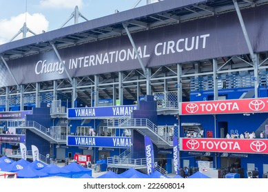 BURIRAM - OCTOBER 3 : Chang International Circuit logo behind grandstand in Buriram United Super GT Race ,October 3, 2014 Buriram, Thailand.