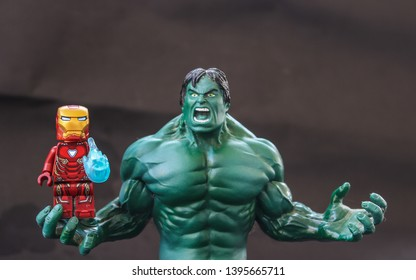 Buriram, Thailand - 24 April 2019 - Lego super hero minifigure iron man fights The hulk. This is the name of a fictional character that appears in comic books published by Marvel.