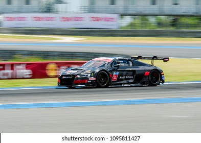 BURIRAM - THAILAND 24 : Audi R8 LMS Cup on display Buriram Super Race 2016 at Chang International Racing Circuit on July 24, 2016, Buriram, Thailand.