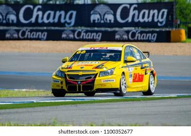 BURIRAM - THAILAND 24 : Chevrolet racing car on display Buriram Super Race 2016 at Chang International Racing Circuit on July 24, 2016, Buriram, Thailand.