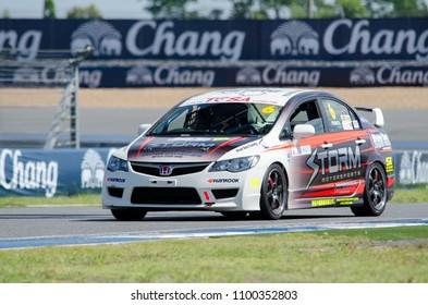 BURIRAM - THAILAND 24 : Honda racing car on display Buriram Super Race 2016 at Chang International Racing Circuit on July 24, 2016, Buriram, Thailand.