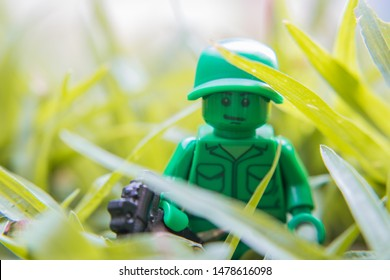 Buriram, Thailand - August 11, 2019:  Toy Soldier Lego Compatible minifigure from the Toy Story Movie series. Lego is extremely popular worldwide with children and collectors.