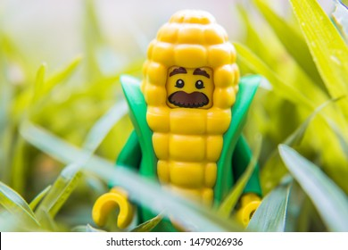 Buriram, Thailand - August 11, 2019:  Toy lego Corn Cob Guy minifigure. Lego is extremely popular worldwide with children and collectors.
