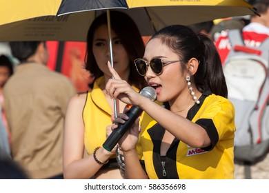 BURIRAM, THAILAND - FEBRUARY 12, 2017: energy drink M-150 product presenter during work at  i-Mobile Stadium Buriram province, Thailand