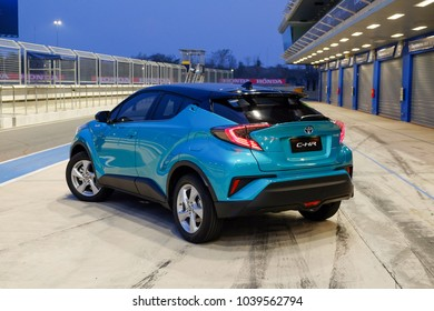 Buriram, Thailand - FEBRUARY 21, 2018: The new Toyota C-HR 2018 test drive 4th generation Hybrid engine and suspension on track at Chang International Circuit.