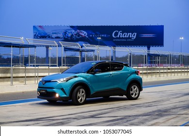 Buriram, Thailand - FEBRUARY 21, 2018 : Toyota C-HR Hybrid car Test drive at Chang International Circuit.