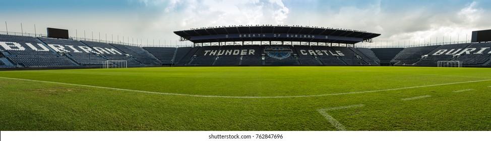 Buriram, Thailand - June 18, 2017: The panoramic view of Buriram United Football Club's stadium at Buriram Province, Thailand, which has a capacity of 32,600 seats.