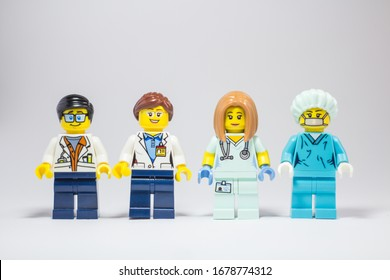 Buriram, Thailand - March 20, 2020: Lego girl minifigure in doctor's dress and medicine