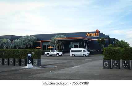 Buriram, Thailand - November 17, 2017 : View of Amari Buriram United Hotel near i-Mobile Stadium Football Arena of Buriram United and Chang International Circuit.
