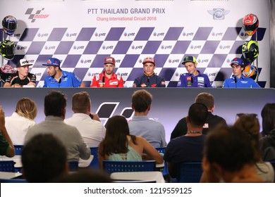 BURIRAM THAILAND-  OCTOBER 4,2018 :Players of Moto GP speaks during the press conference during the Moto GP Thailand Grand Prix 2018 at Chang International Circuit in thailand