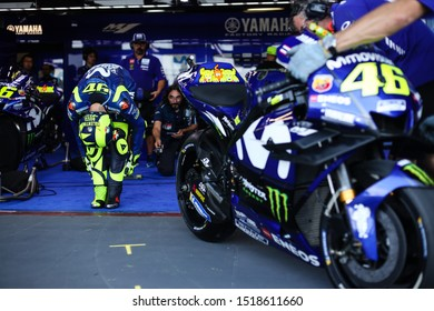 BURIRAM THAILAND- OCTOBER 4,2018 :Valentino Rossi of Movistar Yamaha MotoGP (46) Racing drives during the MotoGP Of Thailand at Chang International Circuit in BuriRam