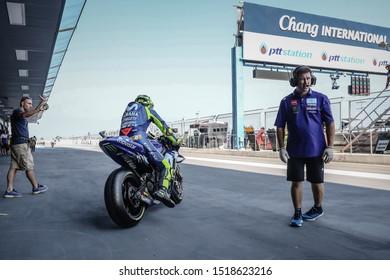 BURIRAM THAILAND- OCTOBER 5,2018 :Valentino Rossi of Movistar Yamaha MotoGP (46) Racing drives during the MotoGP Of Thailand at Chang International Circuit in BuriRam