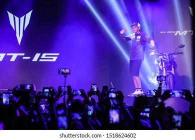BURIRAM THAILAND- OCTOBER 5,2018 :Valentino Rossi of Movistar Yamaha MotoGP (46) greets the fans during the MotoGP Of Thailand at Chang International Circuit in BuriRam