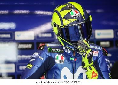 BURIRAM THAILAND- OCTOBER 6,2018 :Valentino Rossi of Movistar Yamaha MotoGP (46) looks on in box during the MotoGP Of Thailand at Chang International Circuit in BuriRam