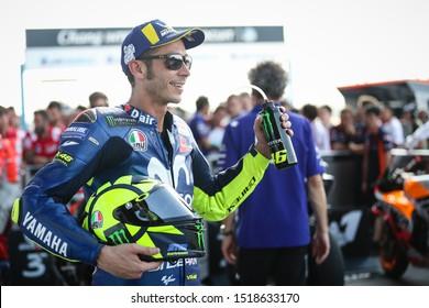 BURIRAM THAILAND- OCTOBER 6,2018 :Valentino Rossi of Movistar Yamaha MotoGP (46) after the qualifying session  the MotoGP Of Thailand at Chang International Circuit in BuriRam