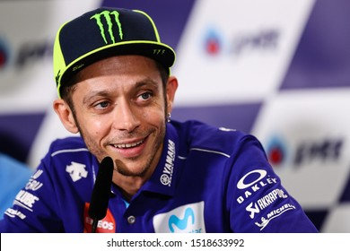 BURIRAM THAILAND- OCTOBER 6,2018 :Valentino Rossi of Movistar Yamaha MotoGP (46) speaks during the press conference  during the MotoGP Of Thailand at Chang International Circuit in BuriRam
