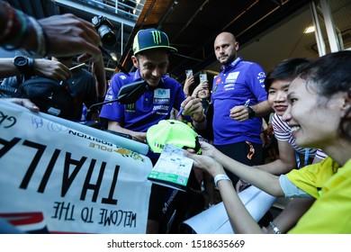 BURIRAM THAILAND- OCTOBER 6,2018 :Valentino Rossi of Movistar Yamaha MotoGP (46) greets the fans during the MotoGP Of Thailand at Chang International Circuit in BuriRam