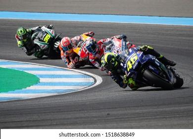 BURIRAM THAILAND- OCTOBER 7,2018 :Valentino Rossi of Movistar Yamaha MotoGP (46) Racing drives during the MotoGP Of Thailand at Chang International Circuit in BuriRam