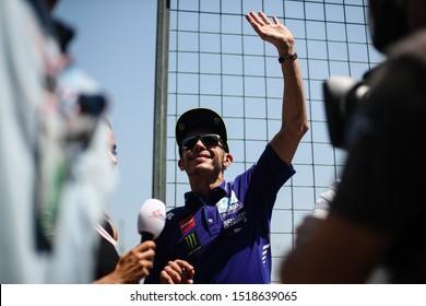 BURIRAM THAILAND- OCTOBER 7,2018 :Valentino Rossi of Movistar Yamaha MotoGP (46) greets the fans during the MotoGP Of Thailand at Chang International Circuit in BuriRam