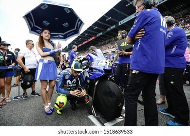 BURIRAM THAILAND- OCTOBER 7,2018 :Valentino Rossi of Movistar Yamaha MotoGP (46) prepares to start on the grid during the MotoGP Of Thailand at Chang International Circuit in BuriRam