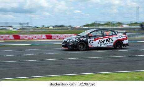 BURIRAM THAILAND - October 9, 2016: Race Support Toyata Motorsport in Super GT Series 2016 round 7 in Thailand at Chang International Circuit in Buriram United.