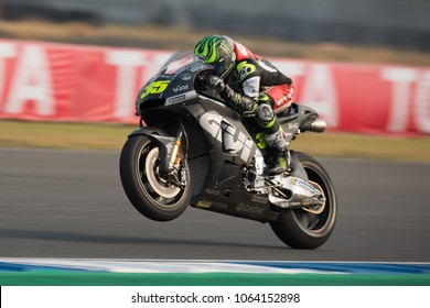 BURIRAM THAILAND-FEBRUARY 18,2018 :Cal CRUTCHLOW of LCR Honda CASTROL Racing drives during the Motorcycle Grand Prix (MotoGP) winter test 2018 at Chang International Circuit in thailand