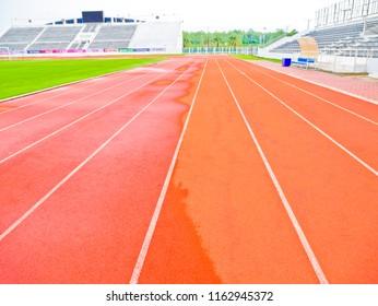 Buriram,Thailand - August 21 2018 : Mr Tanakrit Phrombut go to visit the Khaokradong Stadium  for football game at Buriram,Thailand.