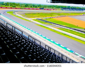 Buriram,Thailand - August 24 2018 : Nonidentical people looking Chang International Circuit  the place for moto gp racing in October 2018,Thailand.