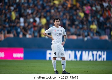 Buriram-Thailand-13jan2018:Jira jaroensuk[w] player of chainat hornbill in action friendly match between buriram utd against chainat hornbill at chang arena stadium,Thailand