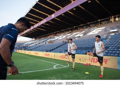 Buriram-Thailand-13jan2018:Player of buriram united warm up during friendly match between buriram utd against chainat hornbill at chang arena stadium,Thailand