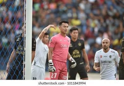 Buriram-Thailand-13jan2018:Teerat nakchamnan[w] player of chainat hornbill in action friendly match between buriram utd against chainat hornbill at chang arena stadium,Thailand