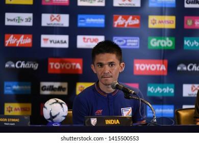 Buriram-Thailand-4Jun2019:Sunil chhetri player of india press conference official at chang arena,buriram,thailand