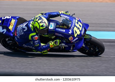 Buriram-Thailand-6OCT2018:Movister yamaha motogp rider,Valentino rossi #46 taking curved during PTT thailand grand prix 2018 at chang international circuit,thailand