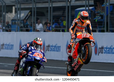 Buriram-Thailand-7OCT2018:Repsol honda team rider,Marc marquez #93 racing during PTT thailand grand prix 2018 at chang international circuit,thailand
