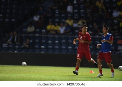 Buriram-Thailand-8Jun2019:Ha duc chinh #18 Player of vietnam in action during king's cup final match against Curacao at chang arena,buriram,thailand