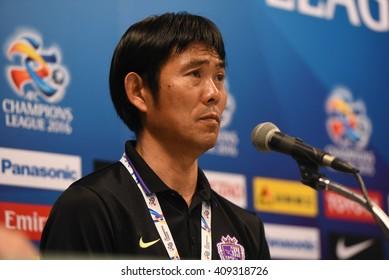 BURIRAM,THAILAND-APR 5:MORIYASU HAJIME of Sanfrecce Hiroshima press conference during AFC Champions League 2016 Buriram UTD.and Sanfrecce Hiroshima at I-mobile Stadium on April 5,2016 in Thailand