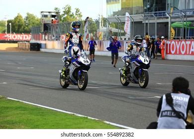 BURIRAM,THAILAND-DECEMBER 3: Anupab Sarmoon  of Yamaha Thailand Racing Team celebrate victoryat ASIA ROAD RACING CHAMPIONSHIP at Chang International Circuit on DECEMBER 3,2016 inThailand.