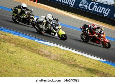 BURIRAM,THAILAND-DECEMBER 3: Panupat Junpakob rides during qualify in MSX Superchallenge at ASIA ROAD RACING CHAMPIONSHIP at Chang International Circuit on DECEMBER 3,2016 inThailand.
