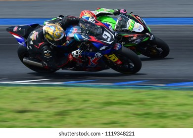 BURIRAM,THAILAND-JUNE 16, 2018: Motorsport rides during qualify race of PTT BRIC SUPERBIKE CHAMPIONSHIP at Chang International Circuit in Buriram province, Thailand