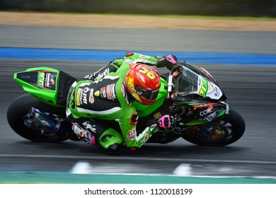 BURIRAM,THAILAND-JUNE 16, 2018: Motorsport rides during qualify race of PTT BRIC SUPERBIKE CHAMPIONSHIP at Chang International Circuit in Buriram province, Thailand.