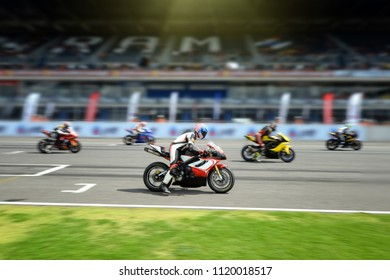 BURIRAM,THAILAND-JUNE 17, 2018: Motorsport rides during qualify race of PTT BRIC SUPERBIKE CHAMPIONSHIP at Chang International Circuit in Buriram province, Thailand.