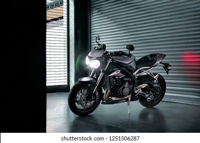 Burirum,Thailand - May 18, 2017 : Triumph Street Triple RS on the pit stop at night